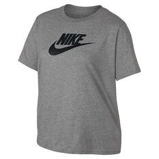 Nike Womens Sportswear Essential Futura Tee Plus Grey / Black XL, Grey / Black, rebel_hi-res