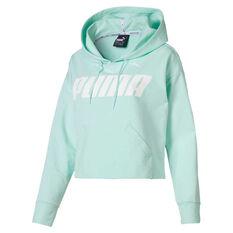 Puma Womens Modern Sports Hoodie Green / White XS, Green / White, rebel_hi-res