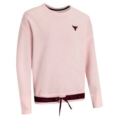 Under Armour Womens Project Rock Charged Cotton Sweatshirt Pink XS, Pink, rebel_hi-res