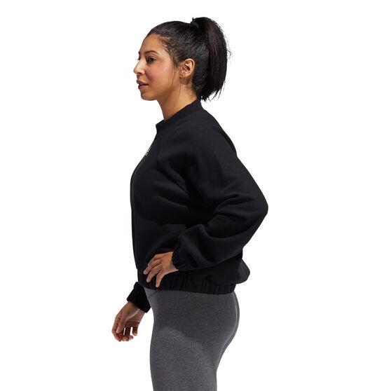 adidas Womens Rib Crew Sweatshirt, Black, rebel_hi-res