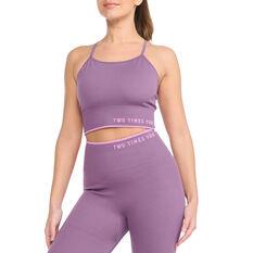 2XU Womens Engineered Longline Sports Bra Purple XS, Purple, rebel_hi-res