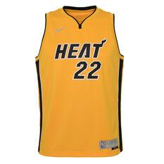 Nike Miami Heat Jimmy Butler 2020/21 Kids Earned Jersey Yellow S, Yellow, rebel_hi-res