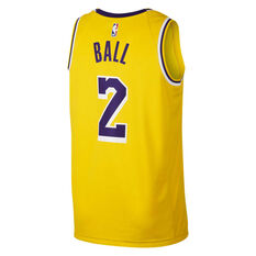 Los Angeles Lakers Lonzo Ball 2019 Mens Statement Swingman Jersey Yellow S, Yellow, rebel_hi-res