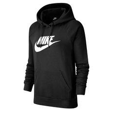 Nike Womens Sportswear Essential Fleece Pullover Hoodie Black XS, Black, rebel_hi-res