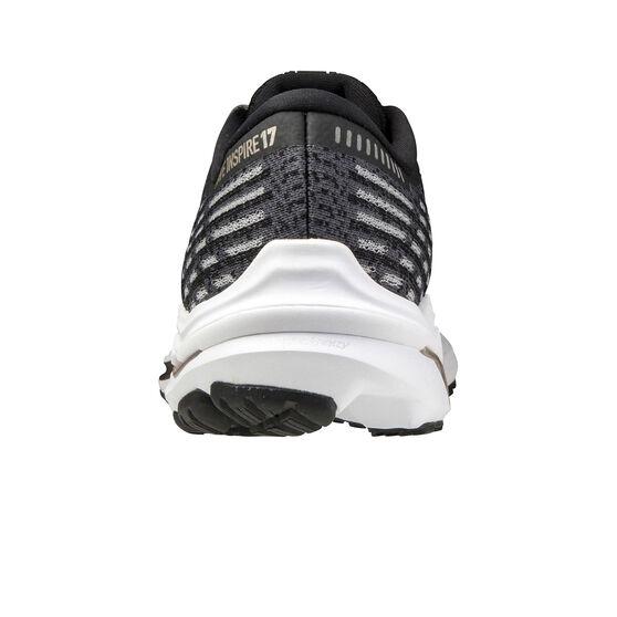 Mizuno Wave Inspire 17 Waveknit 17 Womens Running Shoes, Black/Gold, rebel_hi-res