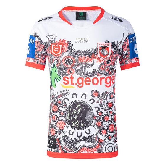 St George Illawarra Dragons 2021 Mens Indigenous Jersey, White/Red, rebel_hi-res