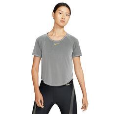 Nike Womens Icon Clash Running Tee Grey XS, Grey, rebel_hi-res