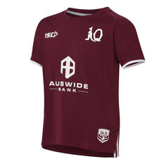 QLD Maroons State of Origin 2020 Kids Training Tee Maroon 6, Maroon, rebel_hi-res
