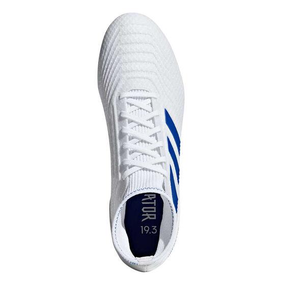 adidas Predator 19.3 Football Boots, White / Blue, rebel_hi-res