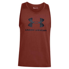 Under Armour Mens Sportstyle Logo Tank Red XS, Red, rebel_hi-res