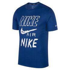 c59d196811c6 Nike Mens Breathe Graphic Running Tee Blue S