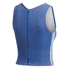 adidas Womens Zippable Ribbed Tank Blue XS, Blue, rebel_hi-res