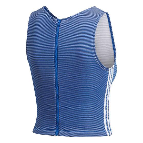 adidas Womens Zippable Ribbed Tank, Blue, rebel_hi-res