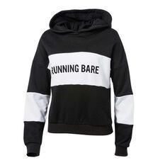 Running Bare Womens Earn Your Stripes Hoodie Black / White 16, Black / White, rebel_hi-res