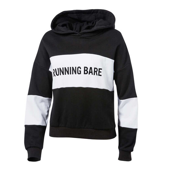 Running Bare Womens Earn Your Stripes Hoodie, Black / White, rebel_hi-res
