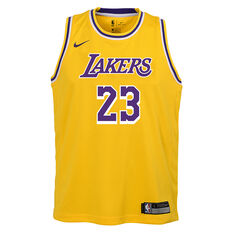 Nike Los Angeles Lakers LeBron James Icon 2019 Kids Swingman Jersey Yellow S, Yellow, rebel_hi-res