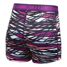 Under Armour Girls HeatGear Armour Printed Shorts Purple XS, Purple, rebel_hi-res