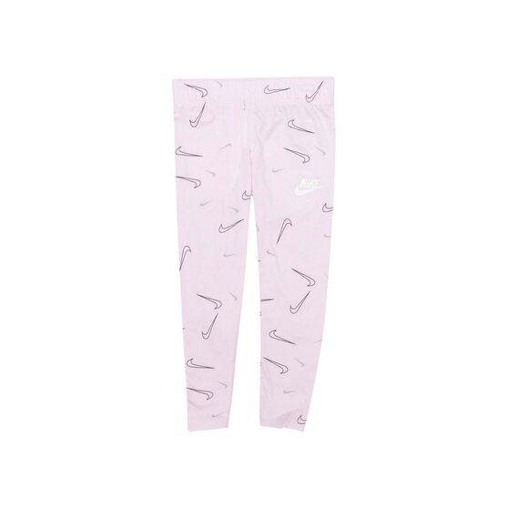 Nike Girls Swooshfetti Leggings, Pink, rebel_hi-res
