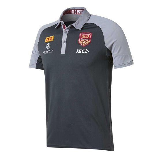 QLD Maroons State of Origin 2019 Mens Performance Polo, Carbon, rebel_hi-res