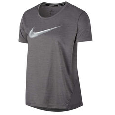 Nike Womens Miler Metallic Tee Grey XS, Grey, rebel_hi-res