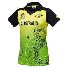 Cricket Australia 2020 Womens T20 World Cup Jersey Green/Gold S, Green/Gold, rebel_hi-res