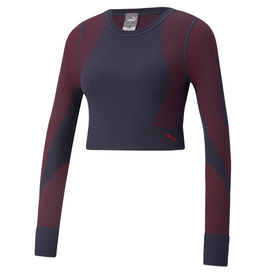 Puma Womens Seamless Fitted Top, Navy, rebel_hi-res
