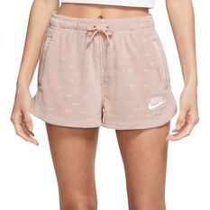 Nike Air Womens Velour Mid-Rise Shorts Pink XS, Pink, rebel_hi-res