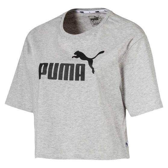 Puma Womens Essentials Cropped Tee, Grey, rebel_hi-res