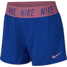 Nike Girls Dri-FIT Trophy Shorts Blue / Pink XS, Blue / Pink, rebel_hi-res