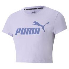 Puma Womens Essentials Slim Logo Tee Purple XS, Purple, rebel_hi-res