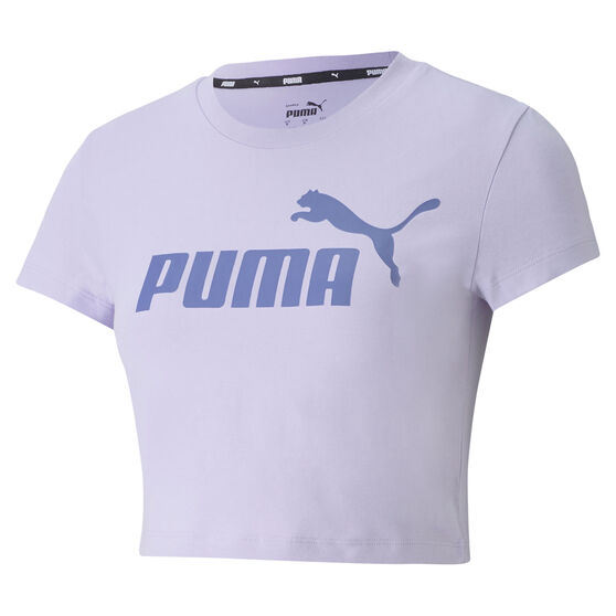 Puma Womens Essentials Slim Logo Tee, Purple, rebel_hi-res
