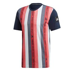 adidas Mens Must Have Essential Graphic Tee Blue / Red S, Blue / Red, rebel_hi-res