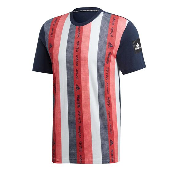 adidas Mens Must Have Essential Graphic Tee, Blue / Red, rebel_hi-res