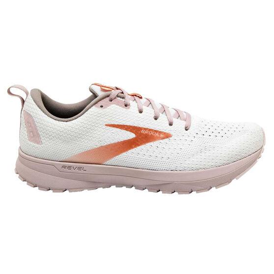 Brooks Revel 4 Womens Running Shoes, White/Pink, rebel_hi-res