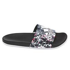 adidas Adilette Comfort Womens Slides White / Black US 8, White / Black, rebel_hi-res