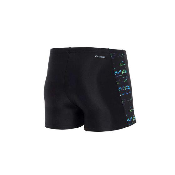 Zoggs Mens Jupiter Hip Racer Shorts, Black / Multi, rebel_hi-res