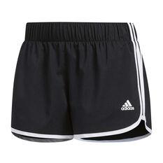 adidas Womens M10 Icon Shorts Black / White XS Adult, Black / White, rebel_hi-res