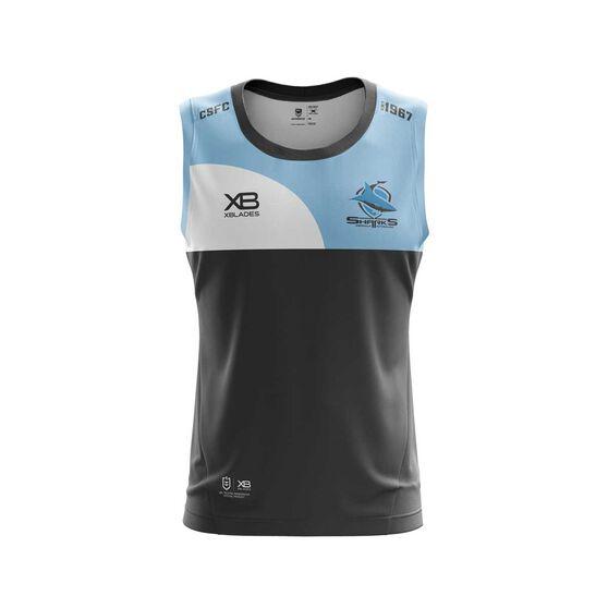 Cronulla-Sutherland Sharks 2019 Traininng Singlet Black / Blue L, Black / Blue, rebel_hi-res