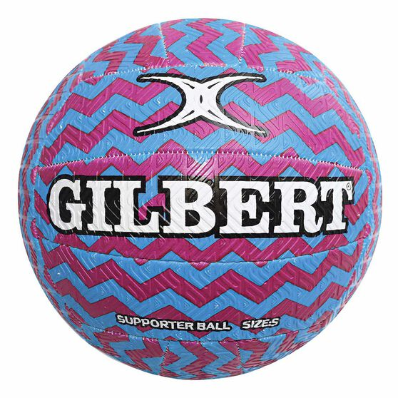 Gilbert Glam Zig Zag Netball Pink / Yellow 5, , rebel_hi-res