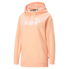 Puma Womens Essentials Logo Elongated Hoodie Orange XS, Orange, rebel_hi-res