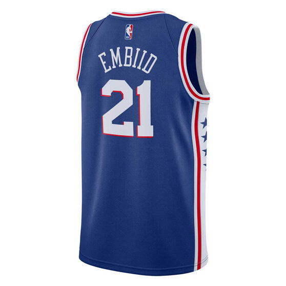 Nike Philadelphia 76ers Joel Embiid 2019 Mens Icon Edition Swingman Jersey, Blue, rebel_hi-res