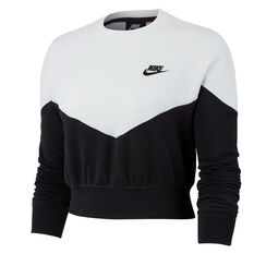 Nike Womens Heritage Fleece Sweatshirt Black / White XS, Black / White, rebel_hi-res