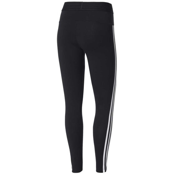 adidas Womens Essentials 3 Stripes Tights, Black / White, rebel_hi-res