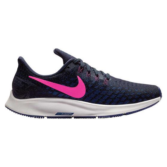 Nike Air Zoom Pegasus 35 Womens Running Shoes, Navy / Pink, rebel_hi-res