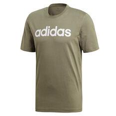 adidas Mens Essentials Linear Tee Green S, Green, rebel_hi-res