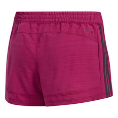 adidas Womens Pacer 3-Stripes Woven Shorts Purple XS, Purple, rebel_hi-res