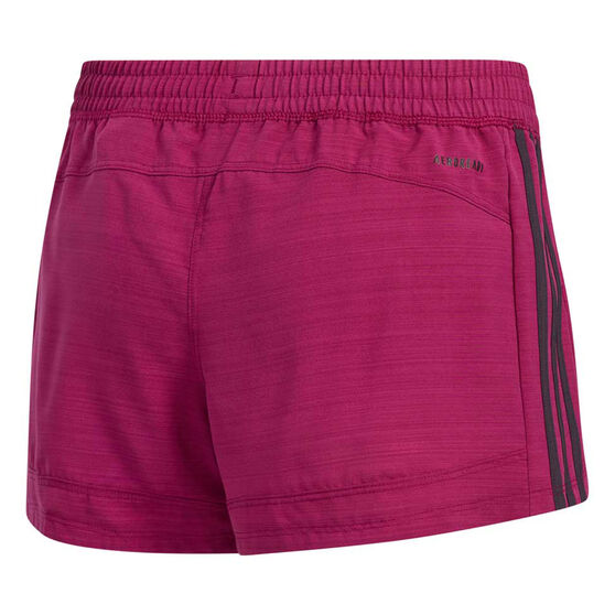 adidas Womens Pacer 3-Stripes Woven Shorts, Purple, rebel_hi-res
