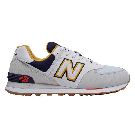 New Balance 574 Mens Casual Shoes, White/Navy, rebel_hi-res