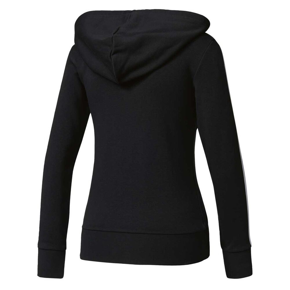 674afb5a9 adidas Womens Essentials 3 Stripes Full Zip Hoodie Black / White XS Adult,  Black /
