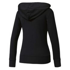 adidas Womens Essentials 3 Stripes Full Zip Hoodie Black / White XS Adult, Black / White, rebel_hi-res
